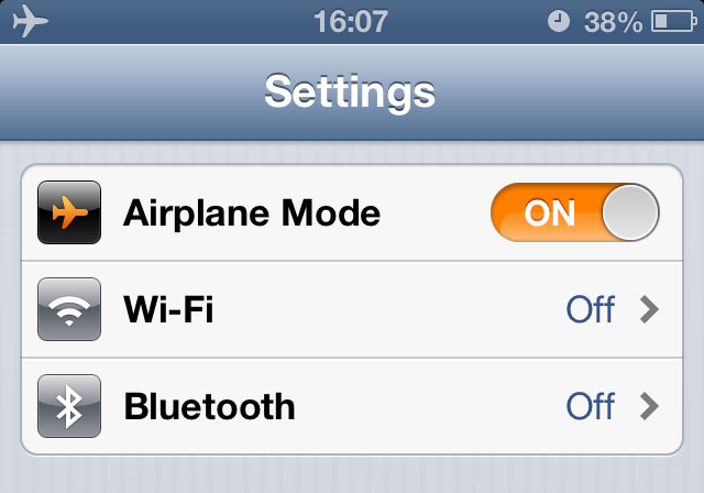 iPhone 5 - Airplane Mode