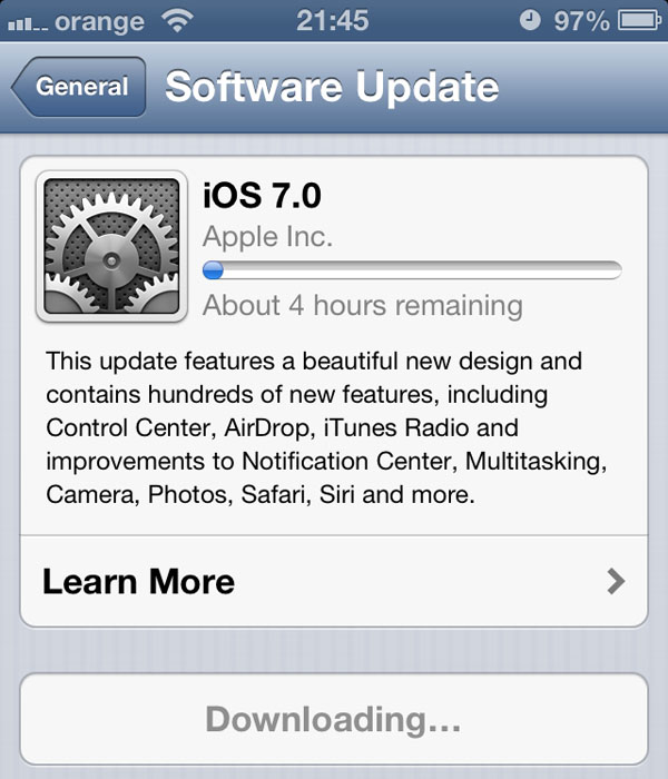 iOS7 upgrade